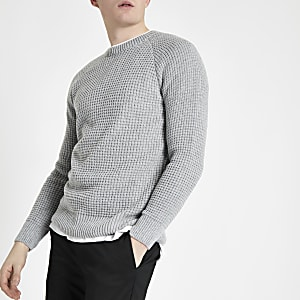 Grey slim fit stitch long sleeve sweater