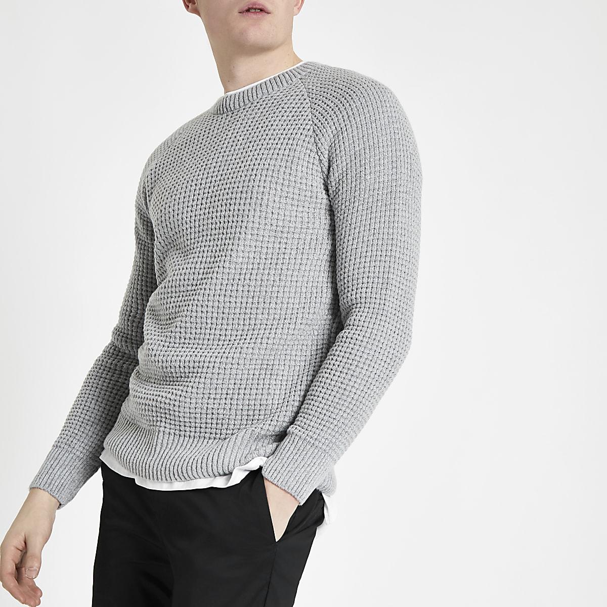 Grey slim fit stitch long sleeve sweater