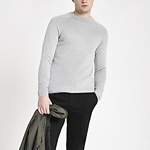 Grey slim fit soft touch sweater