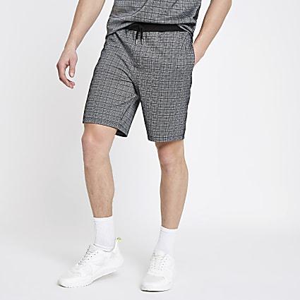 Grey slim fit check shorts