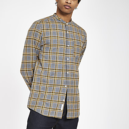 Grey check grandad collar shirt