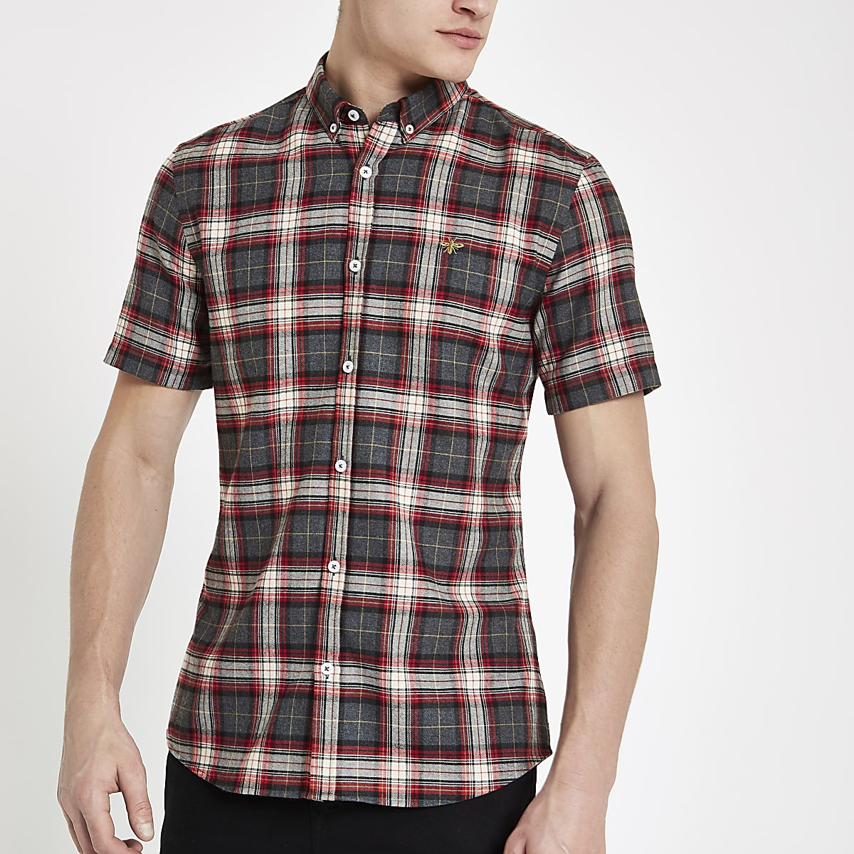 Red check wasp embroidery short sleeve shirt