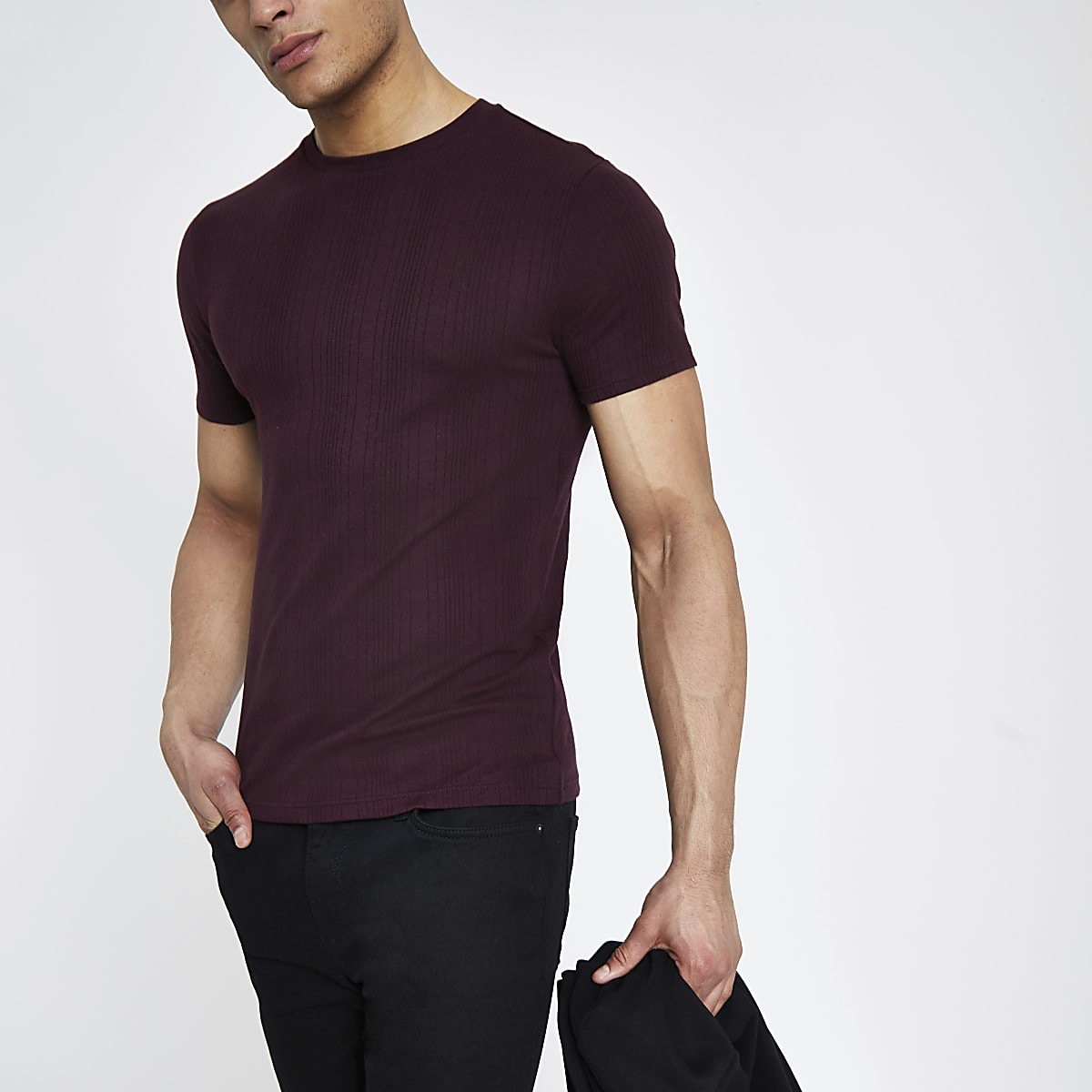 25793ad320b Dark red ribbed muscle fit T-shirt