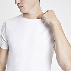 White ribbed muscle fit T-shirt
