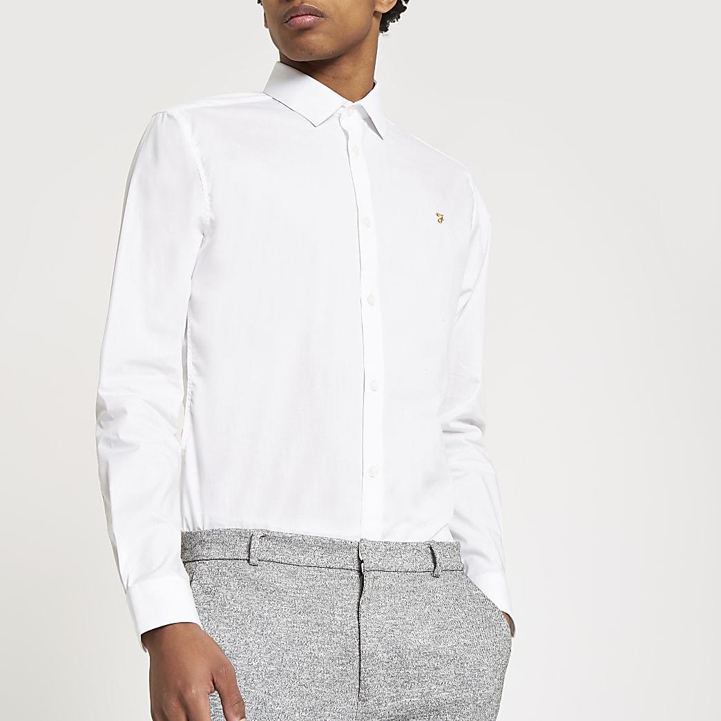 Farah - Wit overhemd met normale pasvorm en lange mouwen