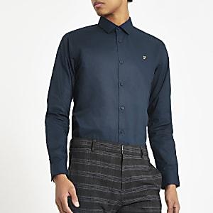 Farah - Marineblauw overhemd met normale pasvorm en lange mouwen
