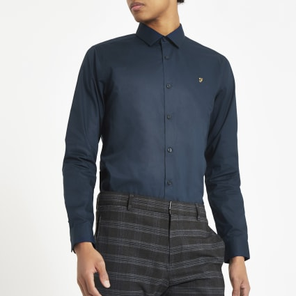 Farah navy regular fit long sleeve shirt