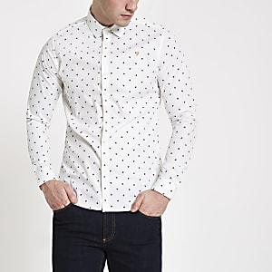 Farah - Wit overhemd met print en lange mouwen