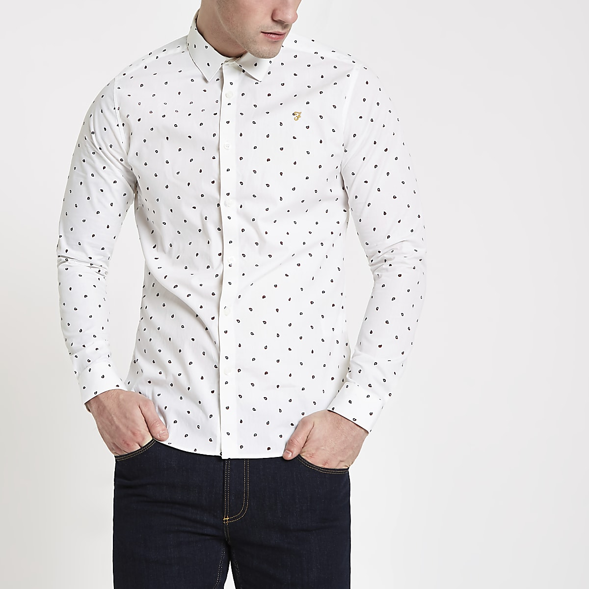 Farah white print long sleeve shirt