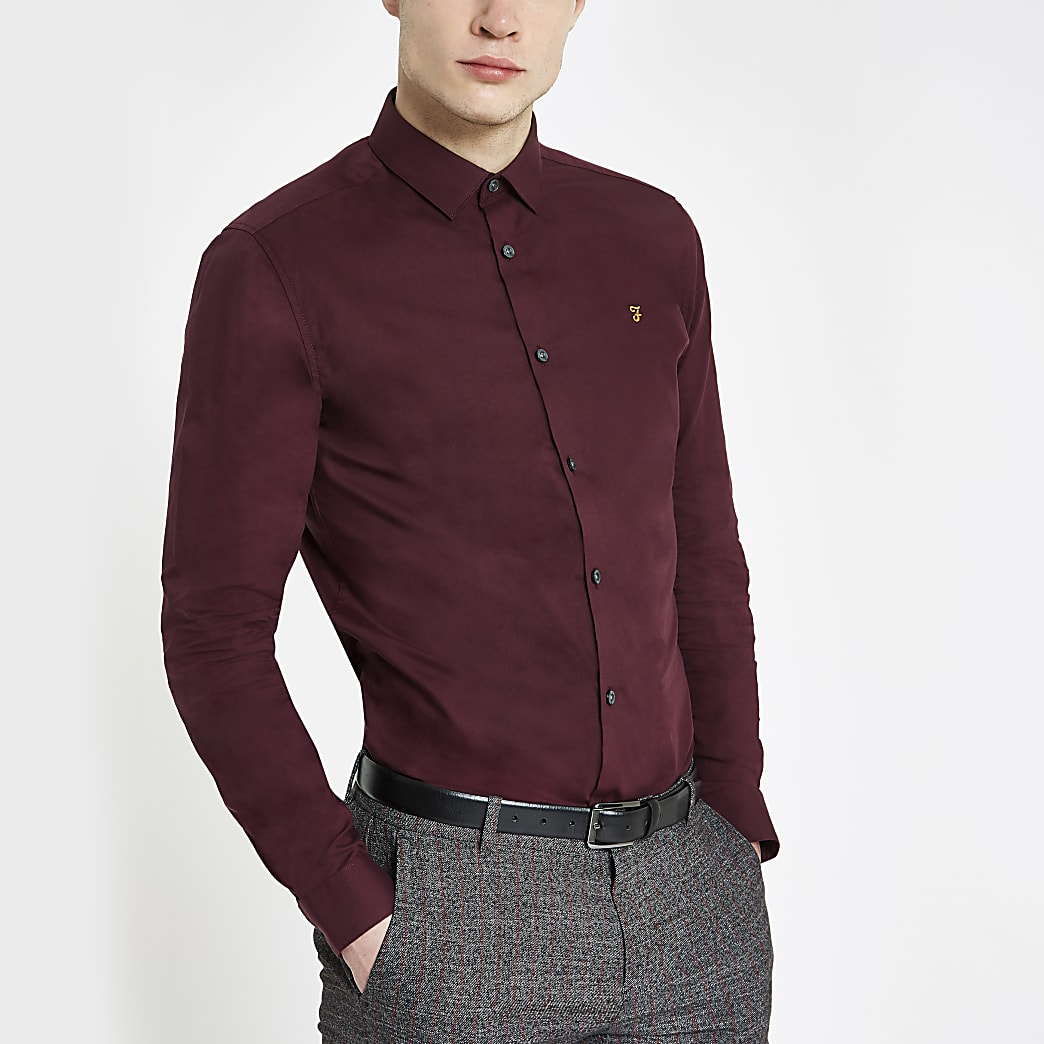 Farah burgundy regular fit long sleeve shirt