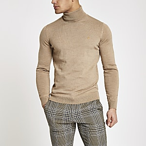 Farah light brown roll neck sweater