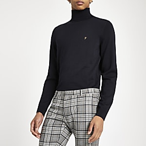 Farah navy roll neck jumper