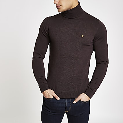 Farah dark red roll neck jumper
