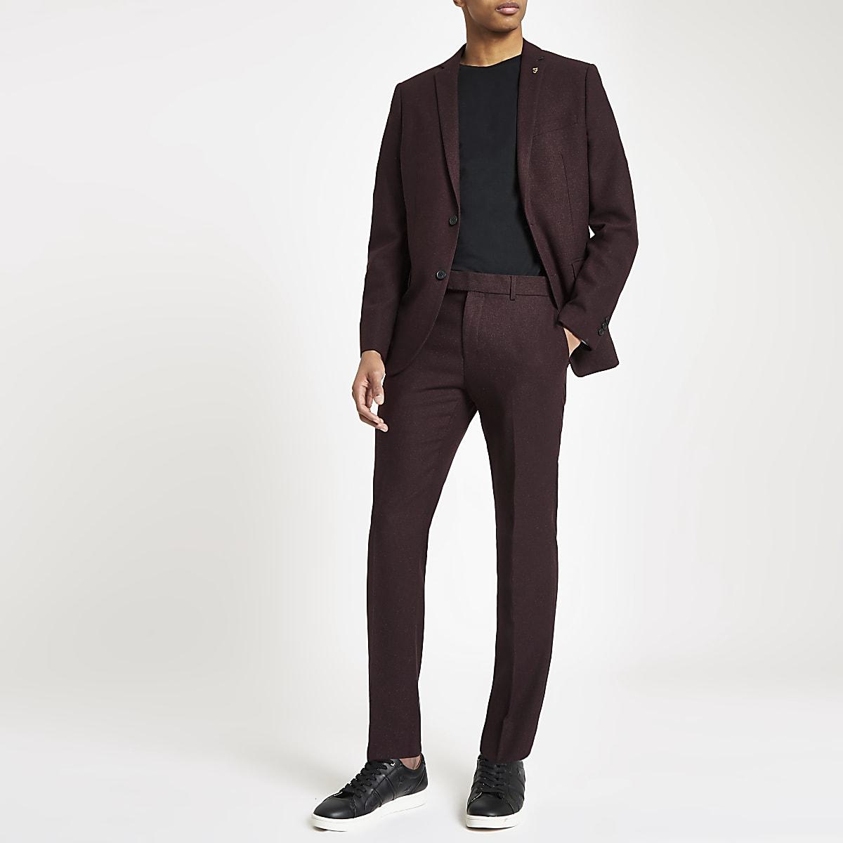 Farah burgundy hopsack skinny suit trousers