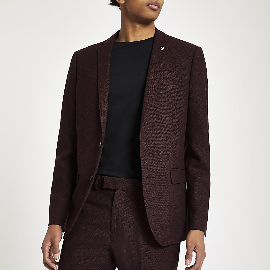 Farah burgundy hopsack skinny suit jacket