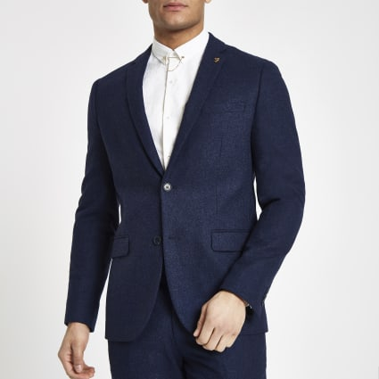 Farah blue wool blend skinny suit jacket