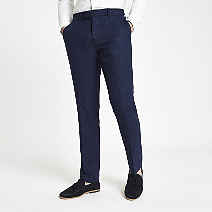 Farah blue wool skinny suit trousers