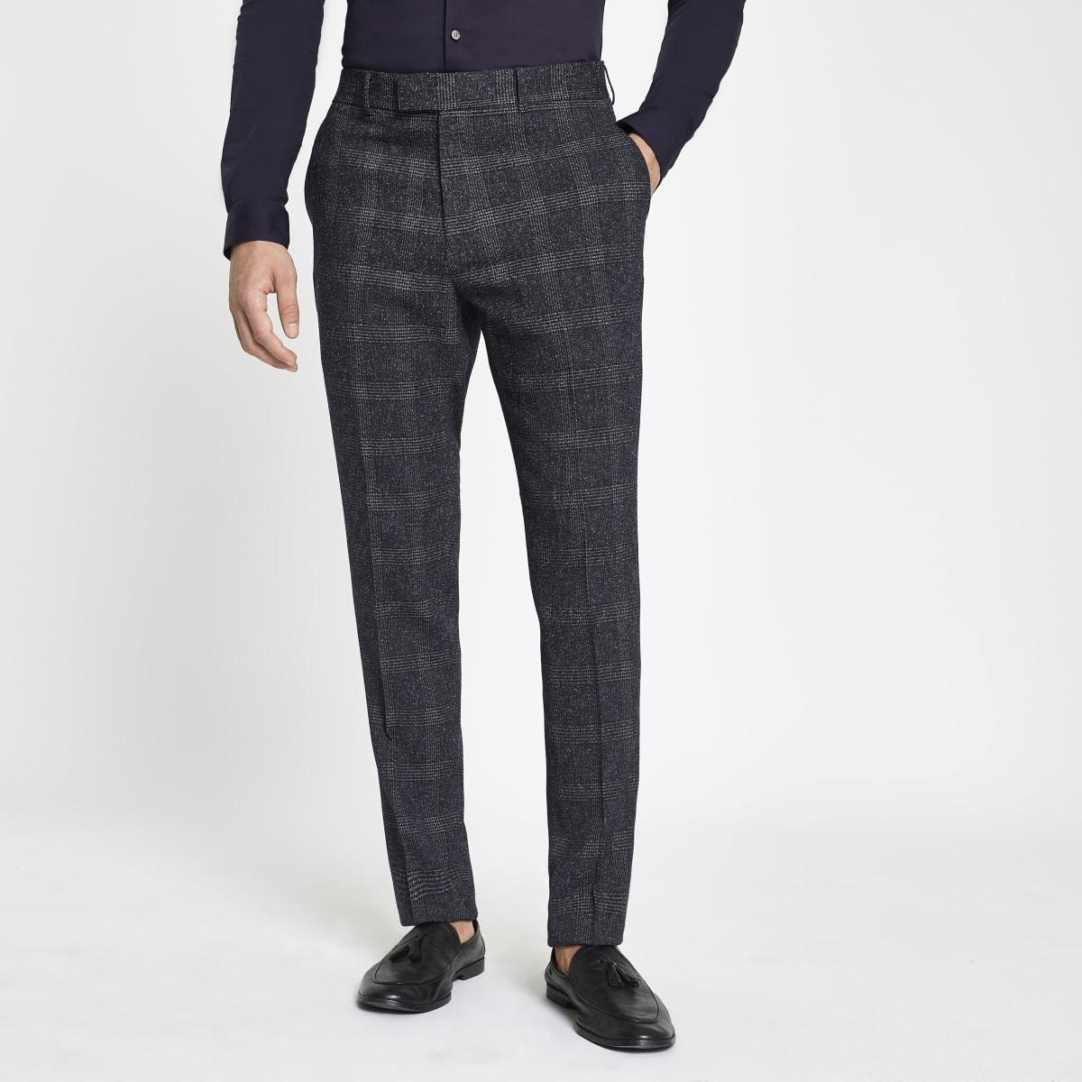 Farah blue check skinny suit trousers