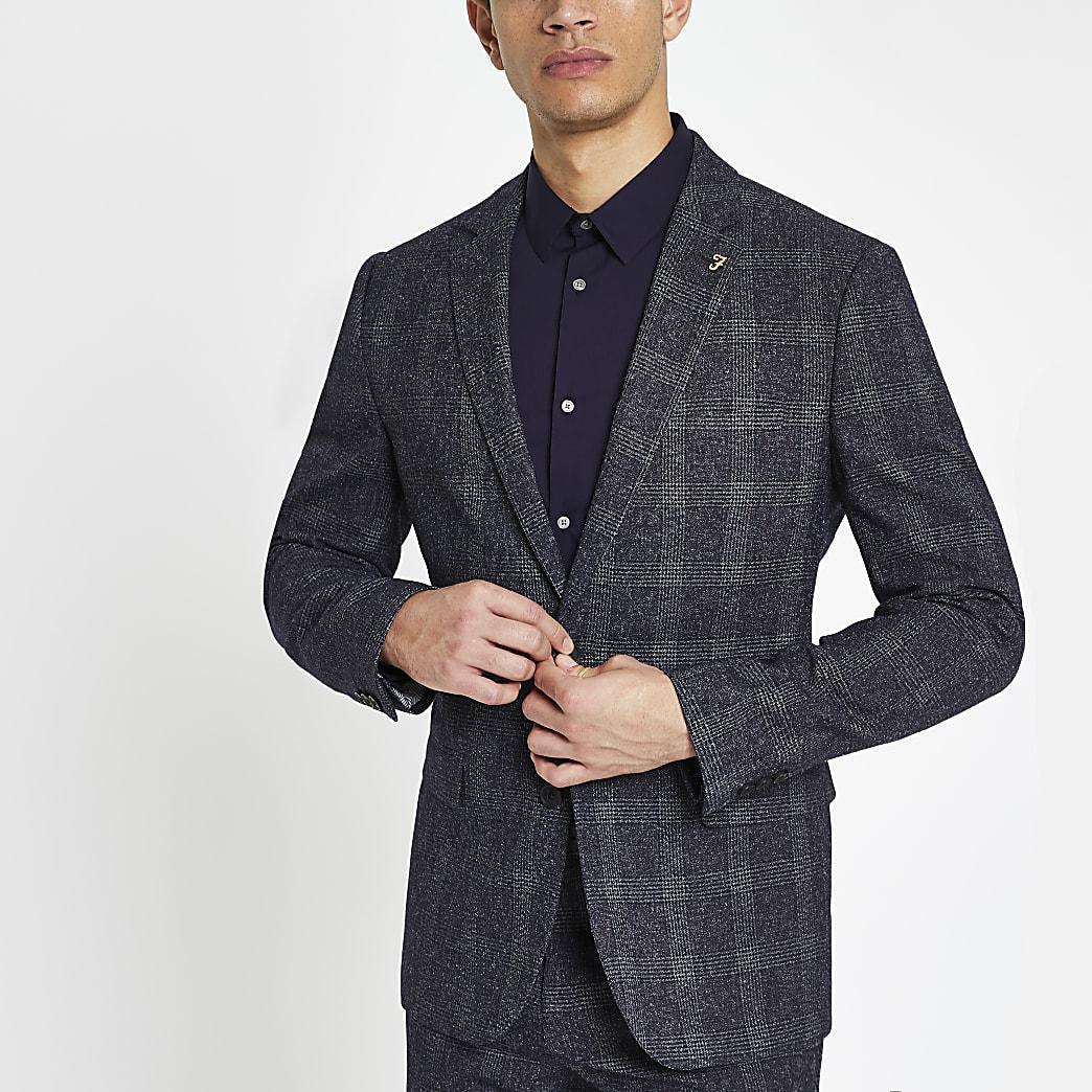 Farah blue check suit jacket