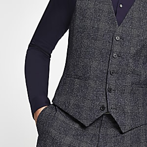 Farah blue check vest