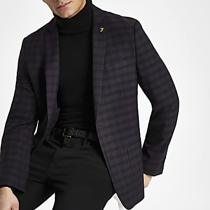 Farah burgundy check skinny fit blazer