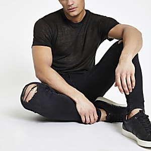 Schwarzes, kurzärmliges T-Shirt in Leinenoptik