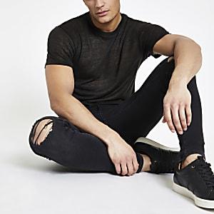 T-shirt aspect lin noir à manches courtes