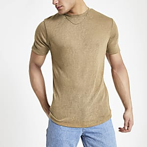 Lichtbruin T-shirt van linnenmix
