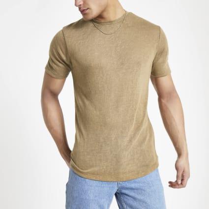 Light brown linen blend T-shirt