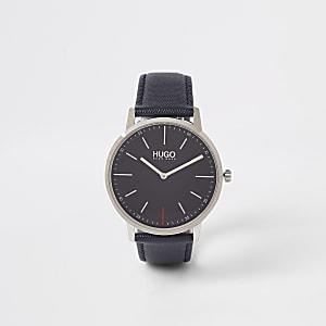 Hugo Exist - Horloge met blauw leren bandje