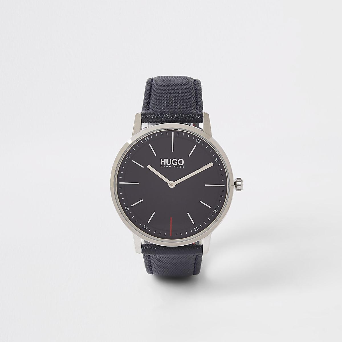 Hugo Exist blue leather strap watch