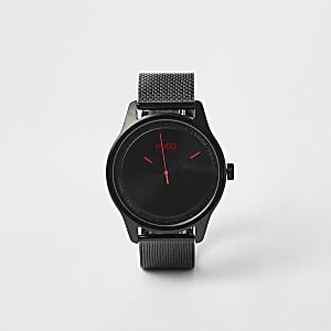 Hugo - Zwart geplatineerd roestvrijstalen horloge