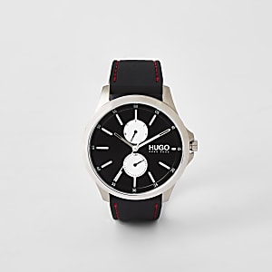 Hugo Jump black two dials steel watch