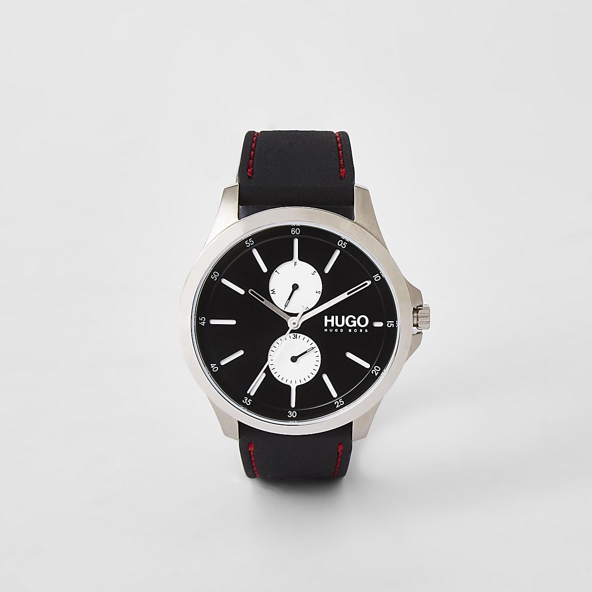 Hugo Jump black two dials steel watch
