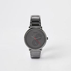 Hugo - Grijs geplatineerd roestvrijstalen horloge