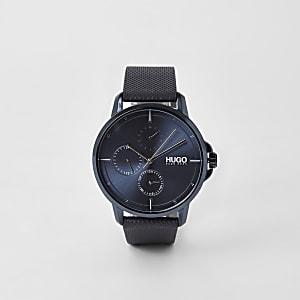 Hugo Focus - Blauw horloge met 3 wijzerplaten