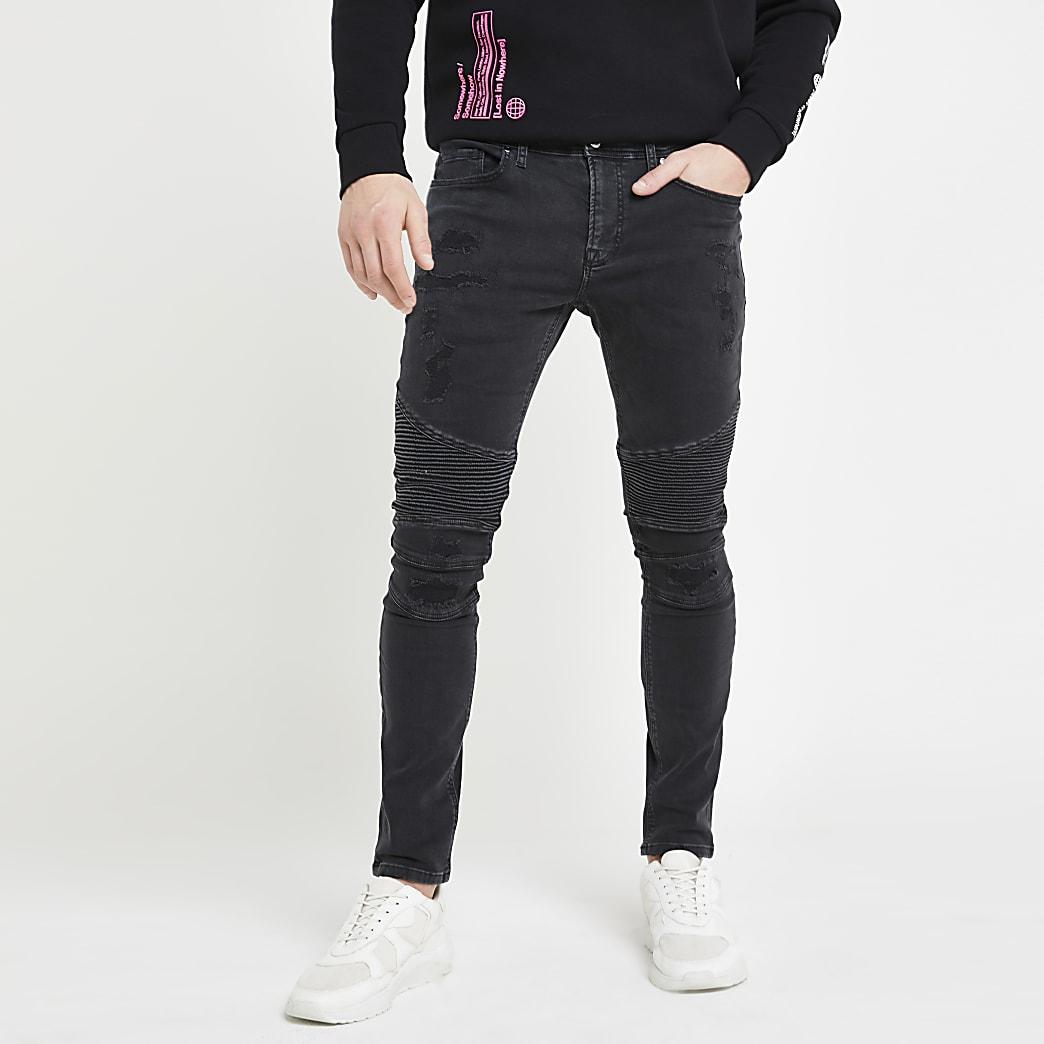 Black Danny super skinny ripped biker jeans