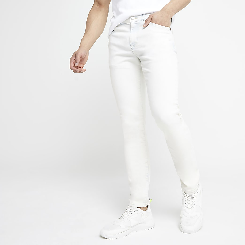 Sid – Jean skinny stretch bleu clair délavé à l'acide