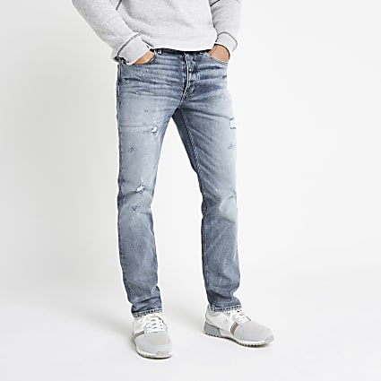 Light blue Dylan ripped slim fit jeans