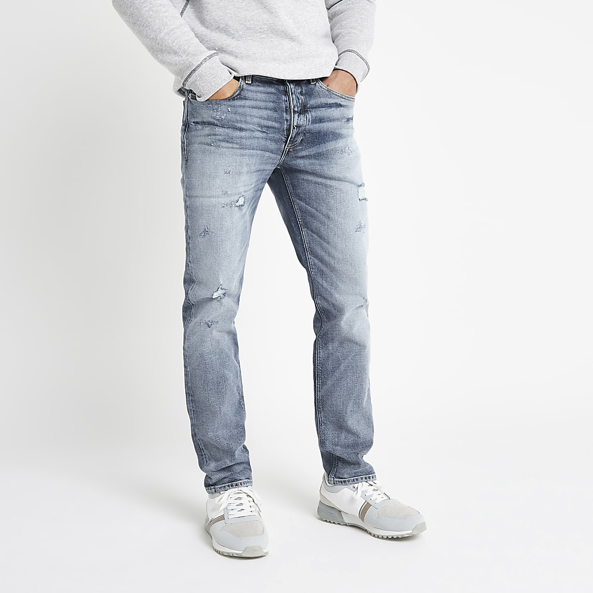 Dylan - Lichtblauwe ripped slim-fit jeans