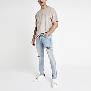 Danny – Jean super skinny bleu clair déchiré façon motard