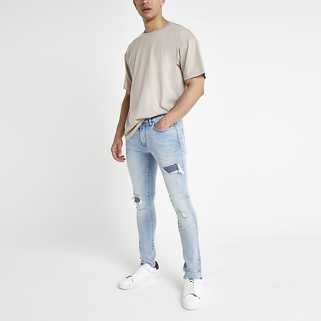 Light blue Danny super skinny biker rip jeans