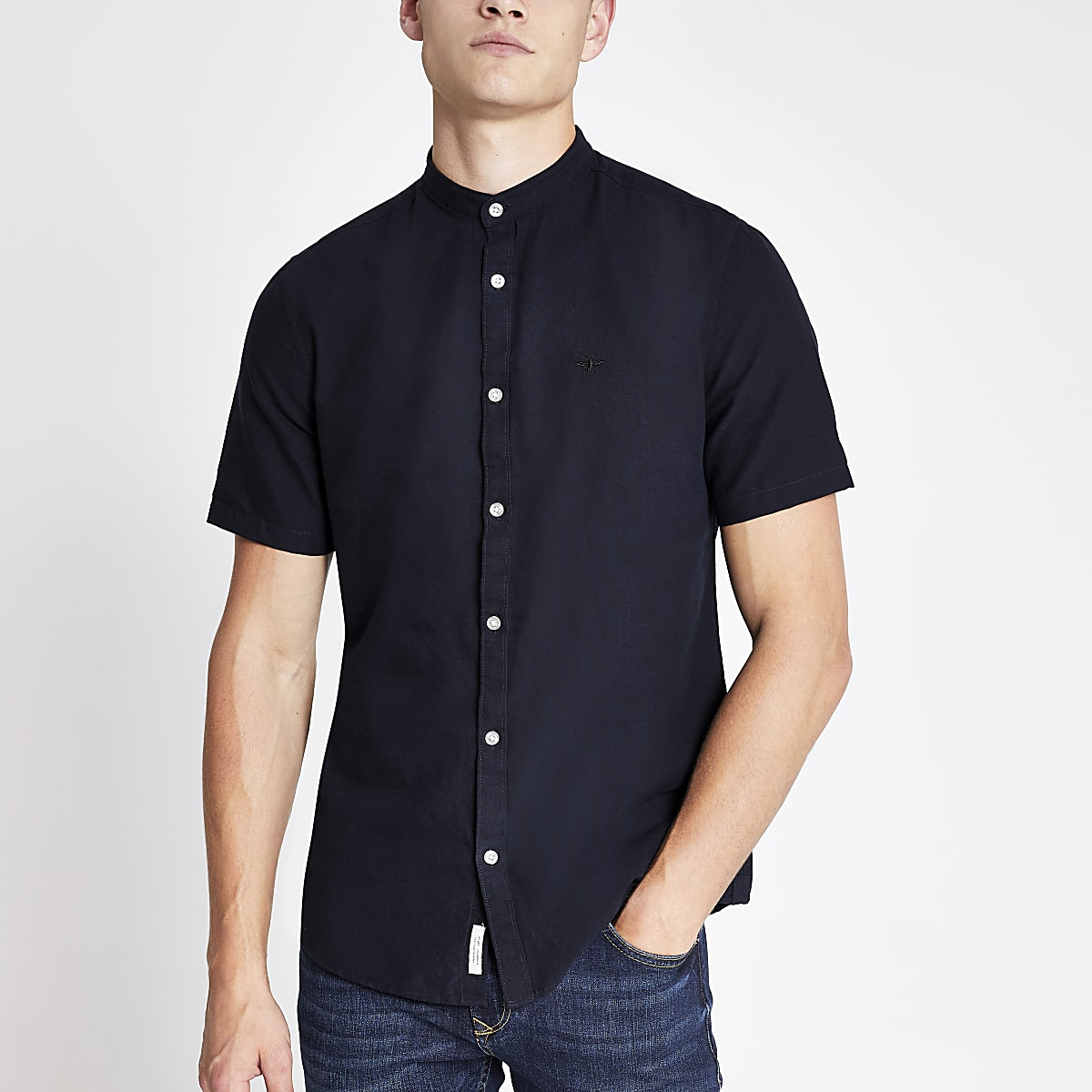 Navy wasp embroidered grandad Oxford shirt