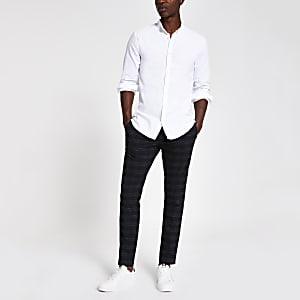 Wit oxford overhemd zonder kraag met lange mouwen