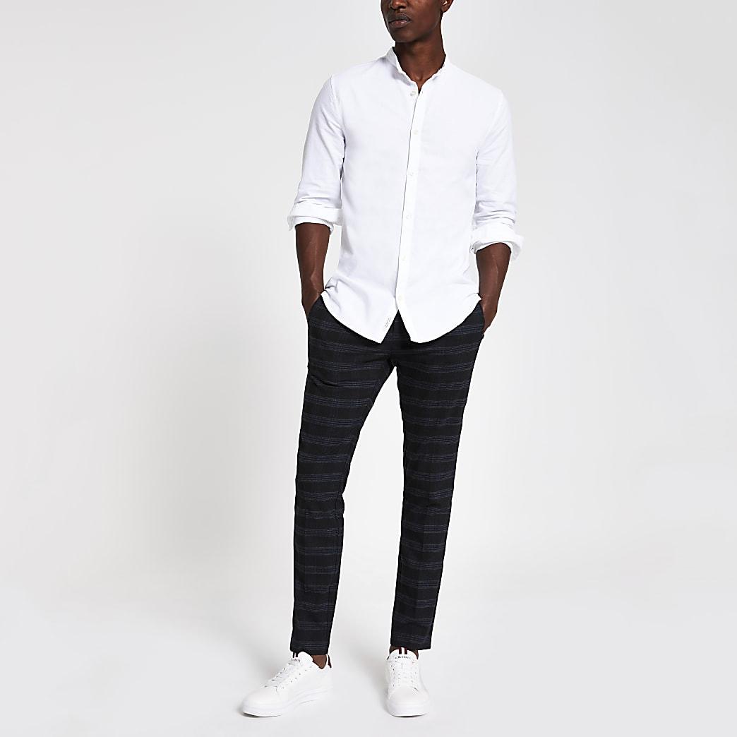Weißes Regular Fit Oxford-Hemd mit Grandad-Kragen