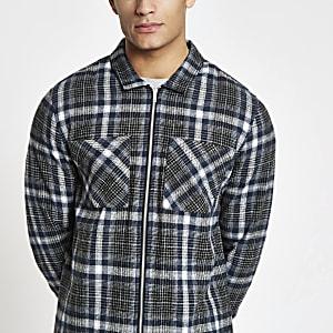 Navy check zip up overshirt