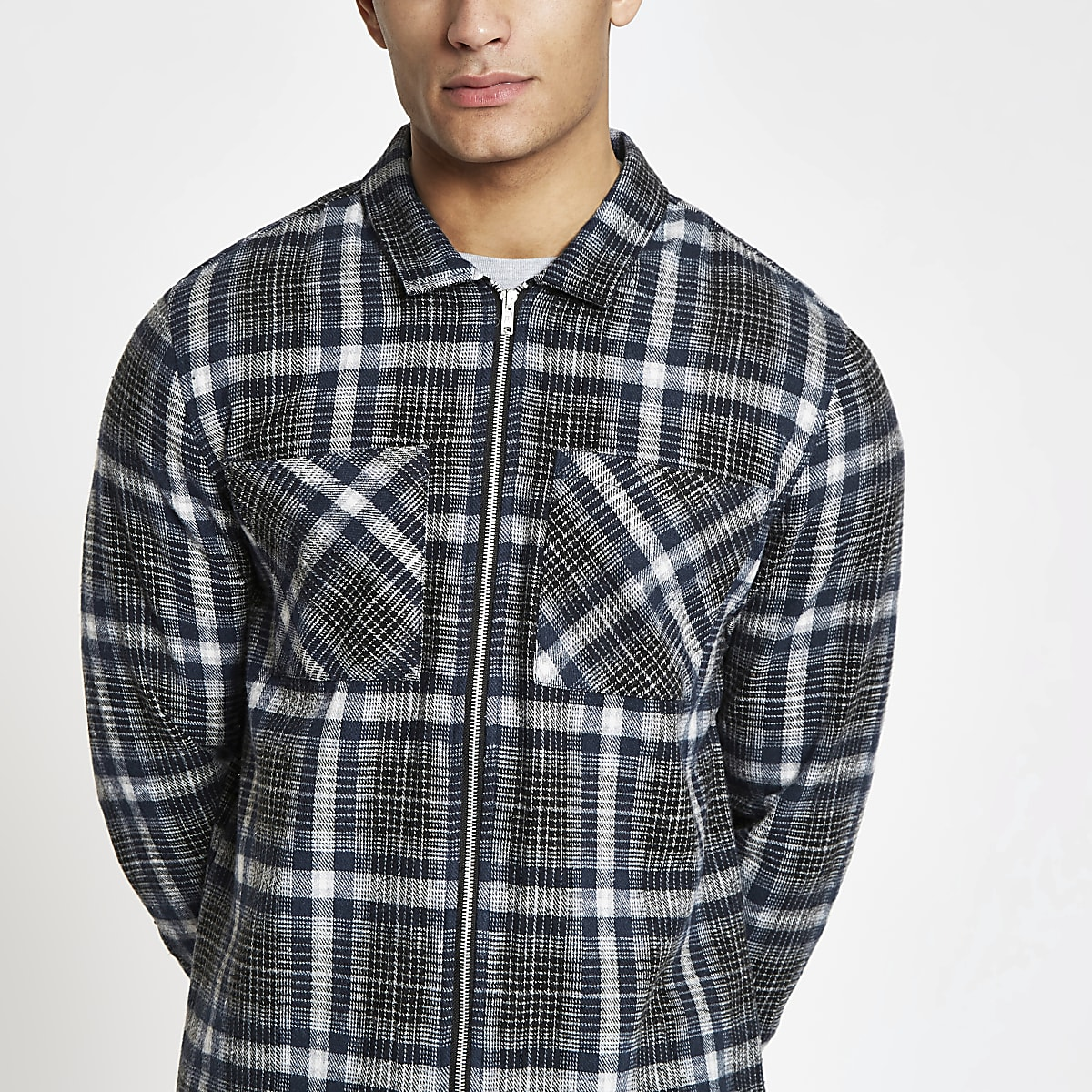 Navy check zip up overshirt