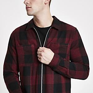 Burgundy check zip front overshirt