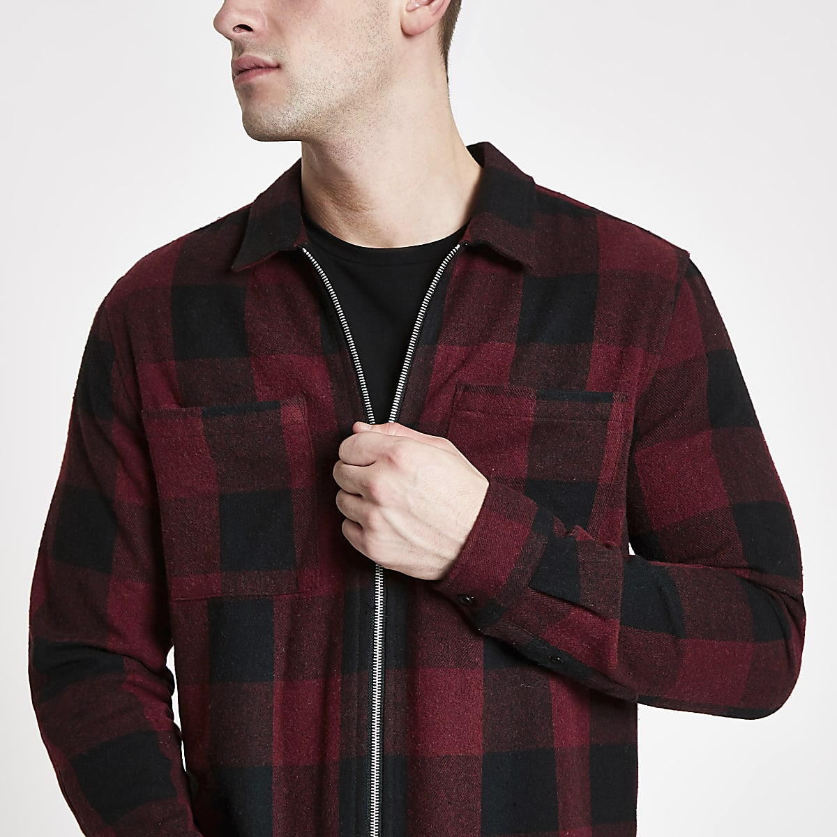 Burgundy check zip front overshirt