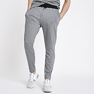 Grey slim fit pinstripe joggers